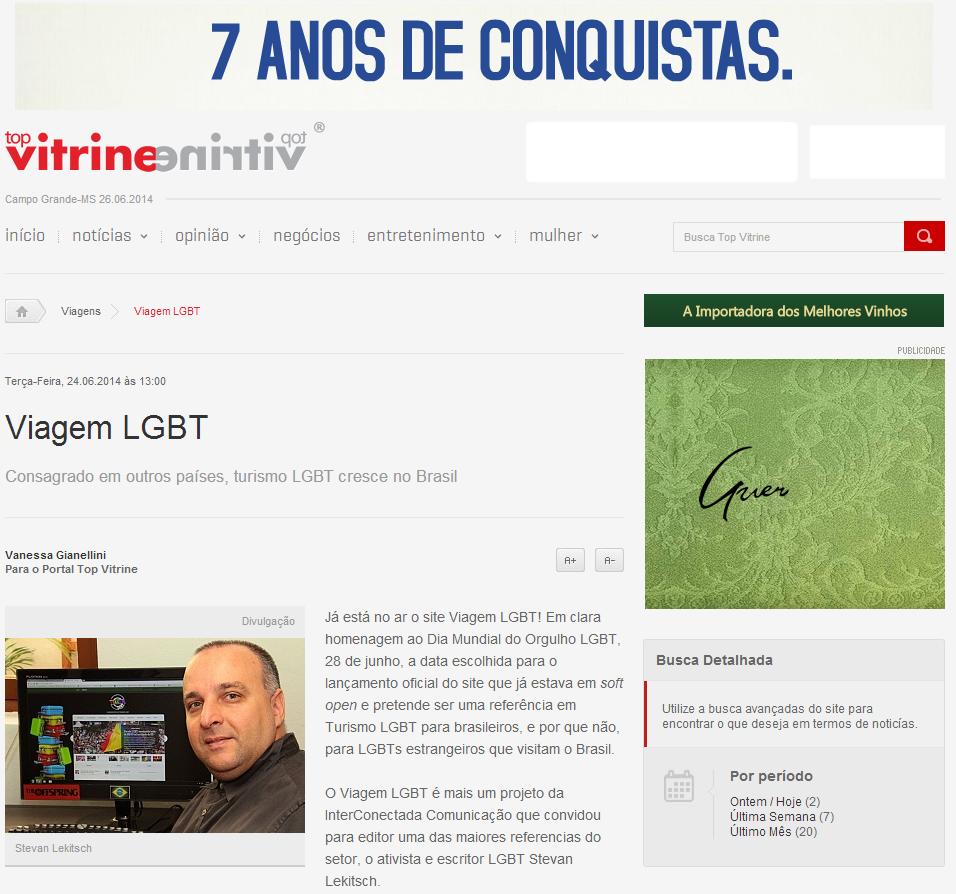 Viagem LGBT é notícia no Top Vitrine